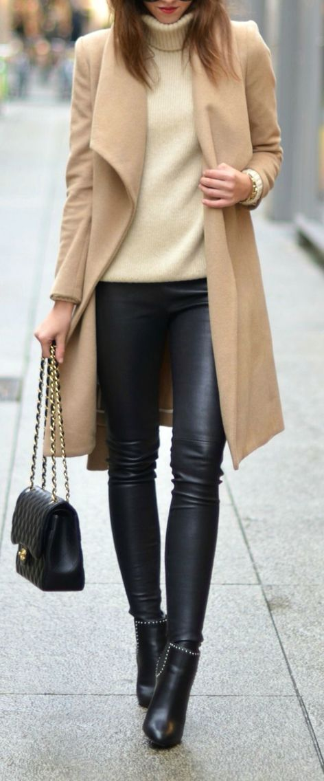 Beige coat + leather pants.                                                                                                                                                                                 More