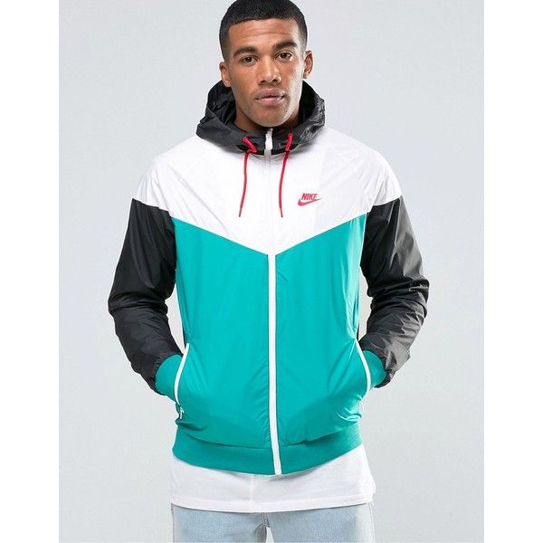 Nike Wind Breaker Jacket In Green 727324-351 ($60) ❤ liked on Polyvore featuring men's fashion, men's clothing, men's outerwear, men's jackets, green, mens lightweight jacket, mens zip up jackets, mens windbreaker jacket, tall mens jackets and mens light weight jackets