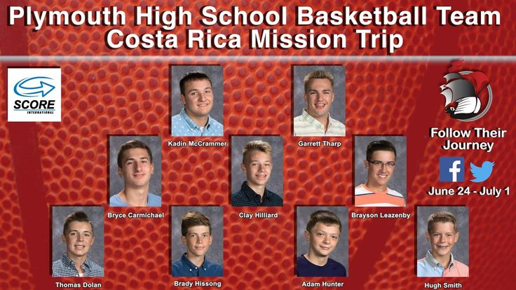 Plymouth High School Basketball coach Ryan Bales and coach Brian Wray are taking nine members of the PHS team on an exciting team building mission trip to Costa Rica. The trip is organized through SCORE International, which is headquartered in Costa Rica.  The group begins their journey tomorrow morning and they return on July 1! You are encouraged to follow their trip right here on Facebook or on the team's Twitter account: @PilgrimBasket.   #PCSCweCARE
