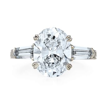 Beautiful oval cut engagement rings with baguettes... #engaged #weddings #engagementrings