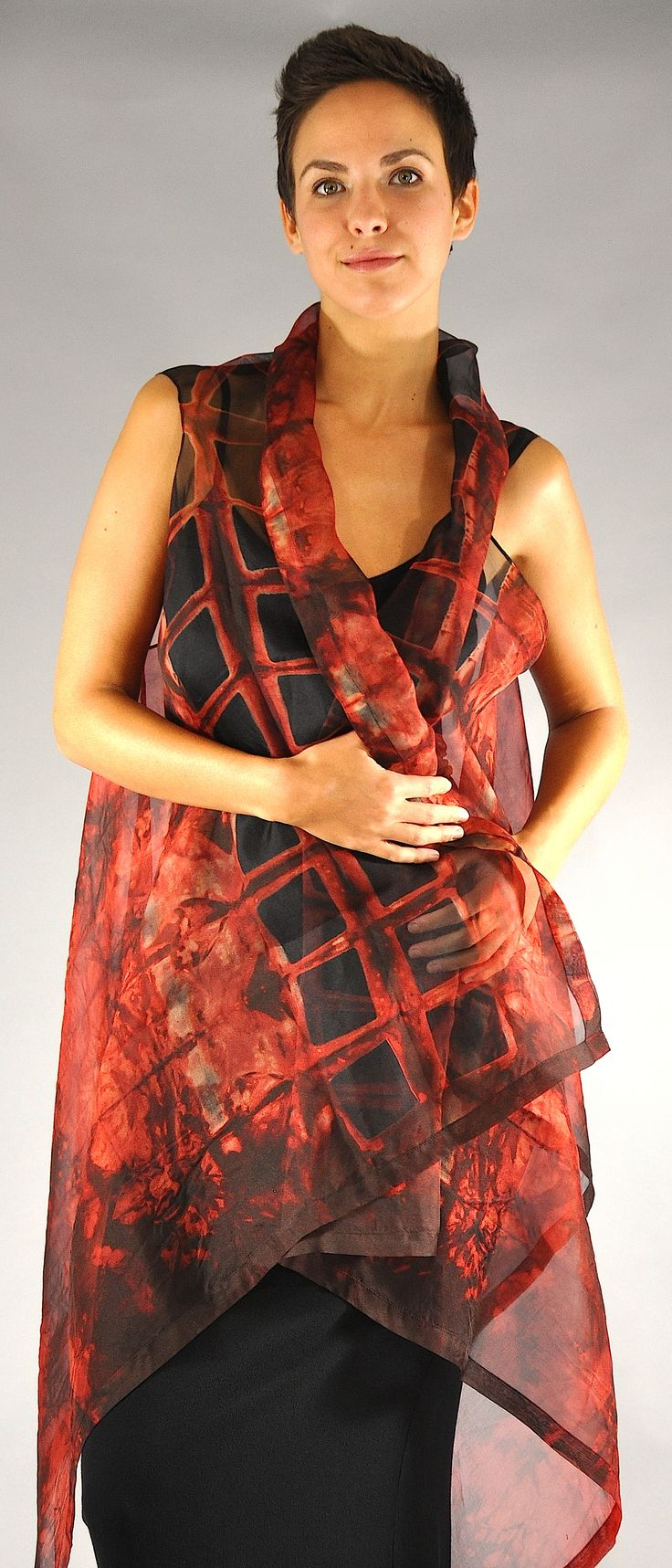 Silk Organza Willow Vest red vertical squares...   http://michaelkanestudio.com