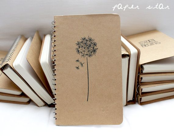 Kraft Notebook Dandelion Flower Small Blank by ThePaperCrafterie, $9.50