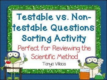 Testable Questions vs. Non-Testable Questions Sorting Activity ...