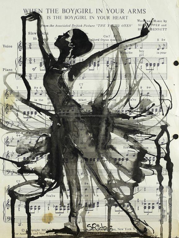 Je vois une jeune fille qui fait de la danse, elle est dessiner à l'aide d'encre, sur une partition de musique. L'œuvre est en noir et blanc, il n'y a pas vraiment de motif sauf pour les notes de music en arrière plan. Quand je regarde l'image je suis contente de voir cette œuvre, car je trouve qu'elle me défini bien. J'aime beaucoup la danse et la musique. Je trouve aussi l'œuvre un peu sans vie car elle est un peu sombre.