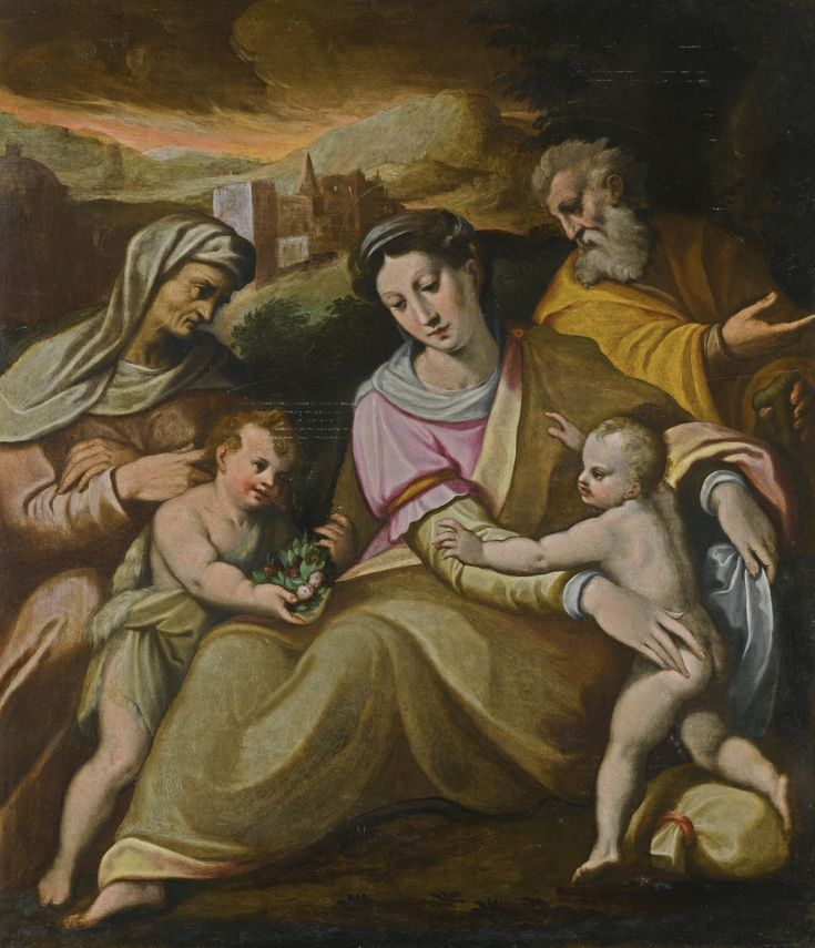Bolognese School, 16th Century THE HOLY FAMILY oil on panel, unframed 88.2 by 76 cm.; 34 5/8  by 29 7/8  in.: