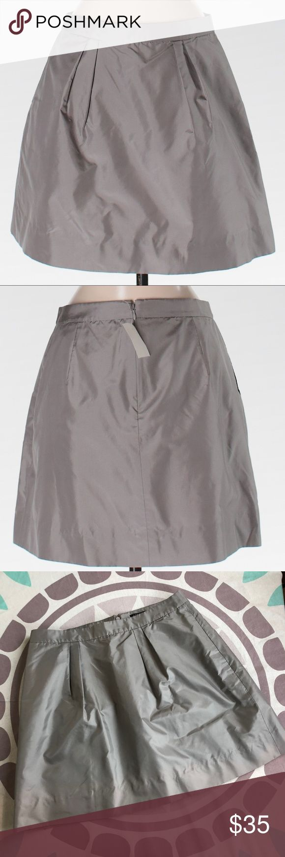 "NWT J. Crew Gray Taffeta Marvelle Mini Skirt 020 J. Crew Factory Women's Gray Taffeta Marvelle Mini Skirt  Zippered Back 100% Silk  Size 4 Style #46894 Waist: 15"" Wide Length: 16.5"" Long Excellent Condition, new with tags! J. Crew Factory Skirts"