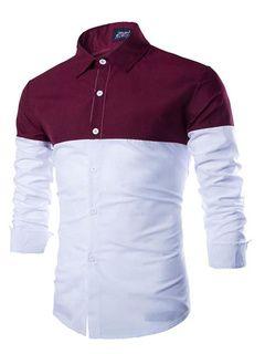 Camisa Borgoña algodón camisa Casual para hombres
