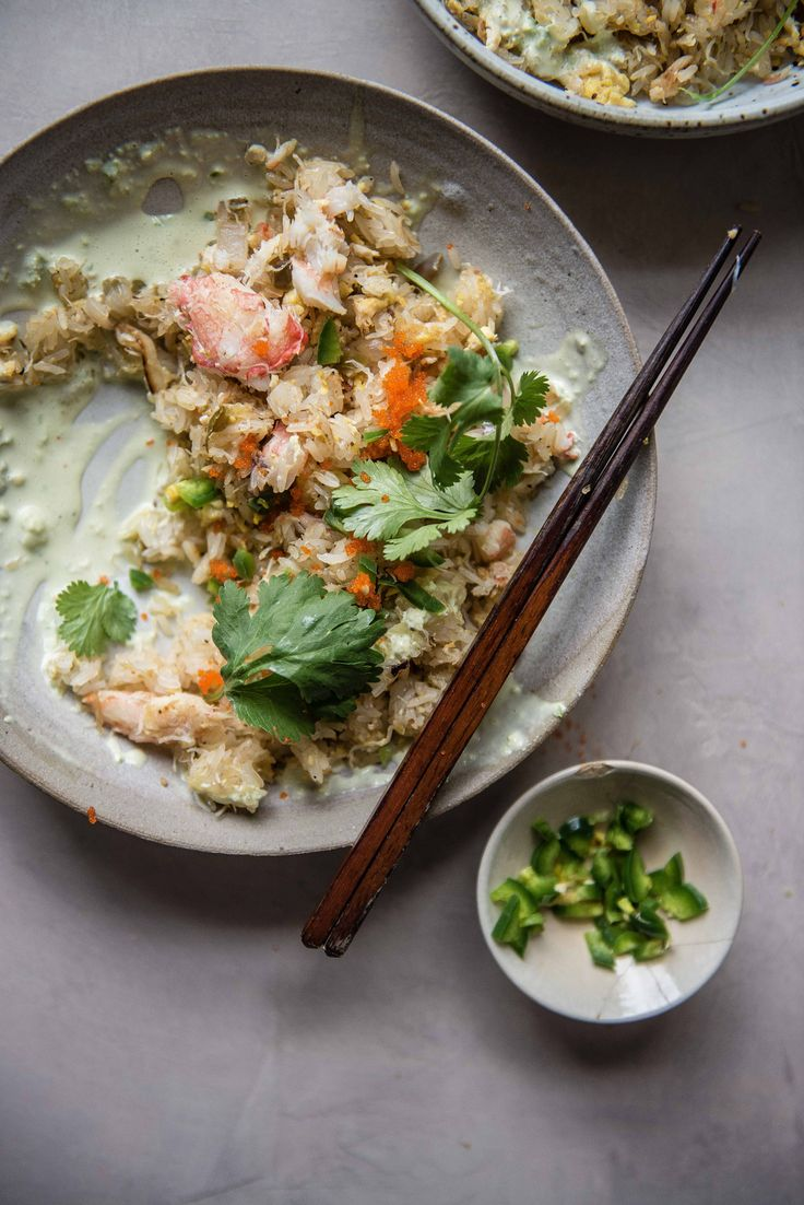crab fried sticky rice with jalapeno aioli | two red bowls