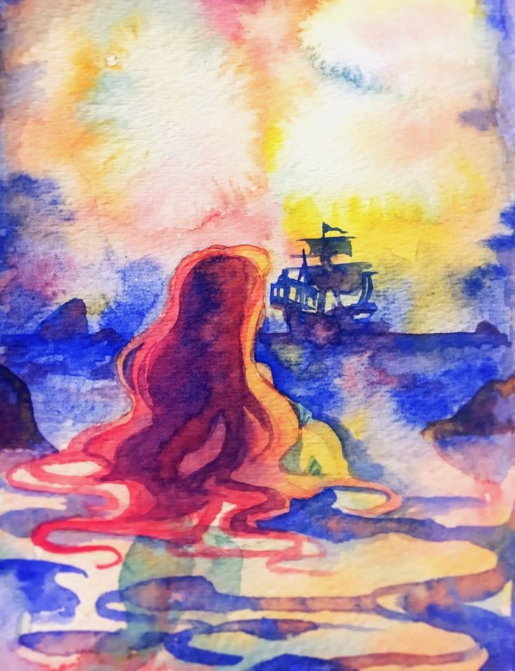 The little mermaid in watercolor