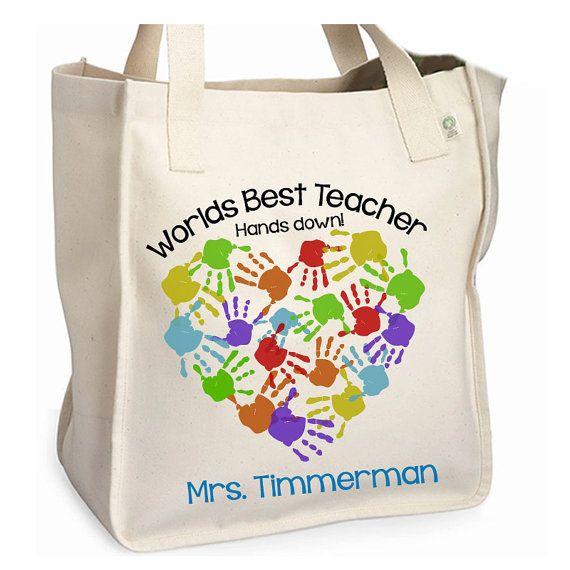 Worlds best teacher tote bag  adorable teacher tote by zoeysattic