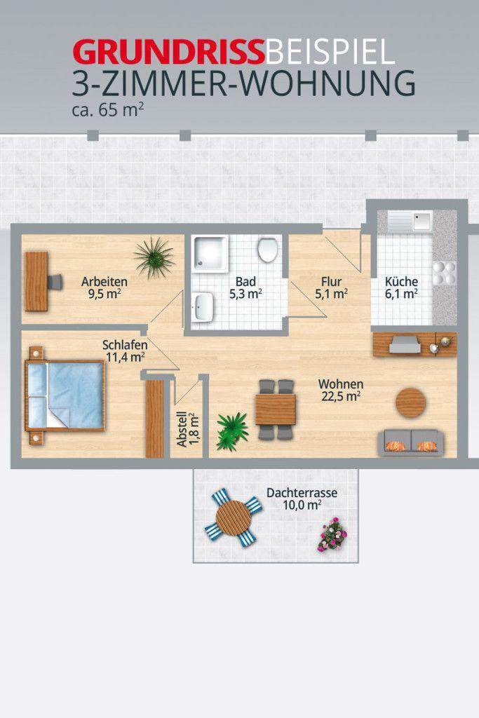3 Zimmer Küche Bad