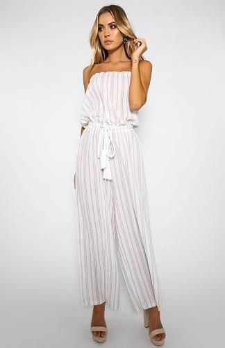 Stripe Strapless Jumpsuit - Beige/White