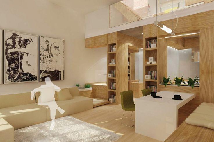 Cucina e soggiorno open space - pannelli in legno naturale