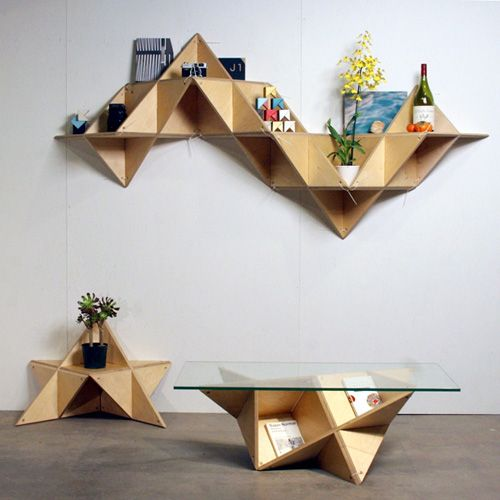 this interesting shelf is an example of angular shapes in furniture