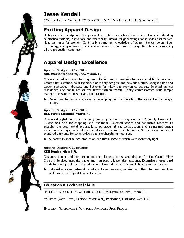 examples of fashion industry resumes