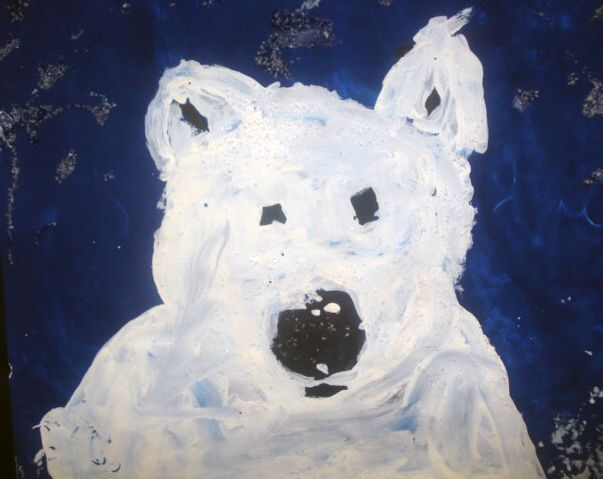 Polar Bear Portraits. Isn't he adorable? Love it.    #painting #kids #crafts