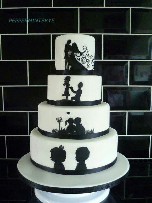 Cute black and white wedding cake.