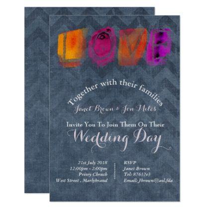 Wedding Purple Orange Blue Chevron Invitations - wedding invitations diy cyo special idea personalize card