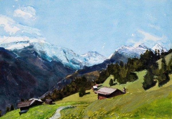 "John Newberry RWS ""Looking south from Murren, Switzerland"" watercolour"