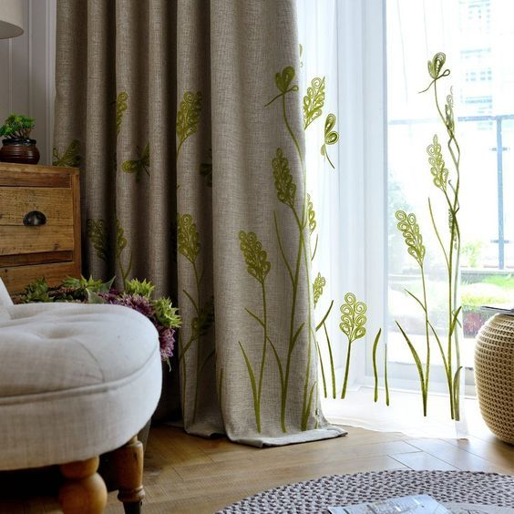 Amazon.com: Melodieux Wheat Embroidery Linen Finishing Window Blackout Noise-Free Grommet Top Curtains for Kids Room 52 by 84 Inch Beige/Green 1 Panel: Home & Kitchen