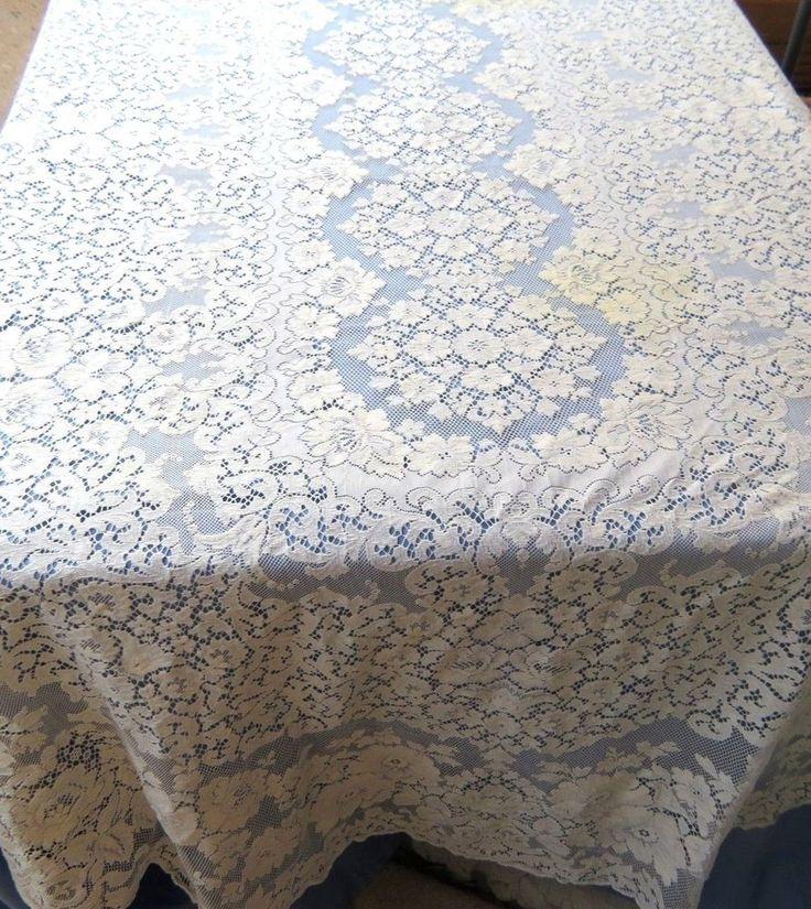 Vintage Quaker Lace Tablecloth Beige Cotton Floral 70x102 Oval
