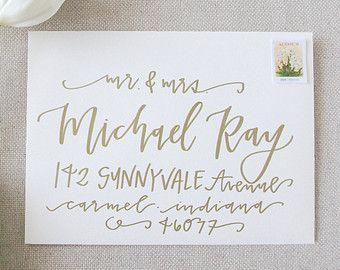 Wedding Calligraphy Envelope Addressing Gold by LetteredLifeShop