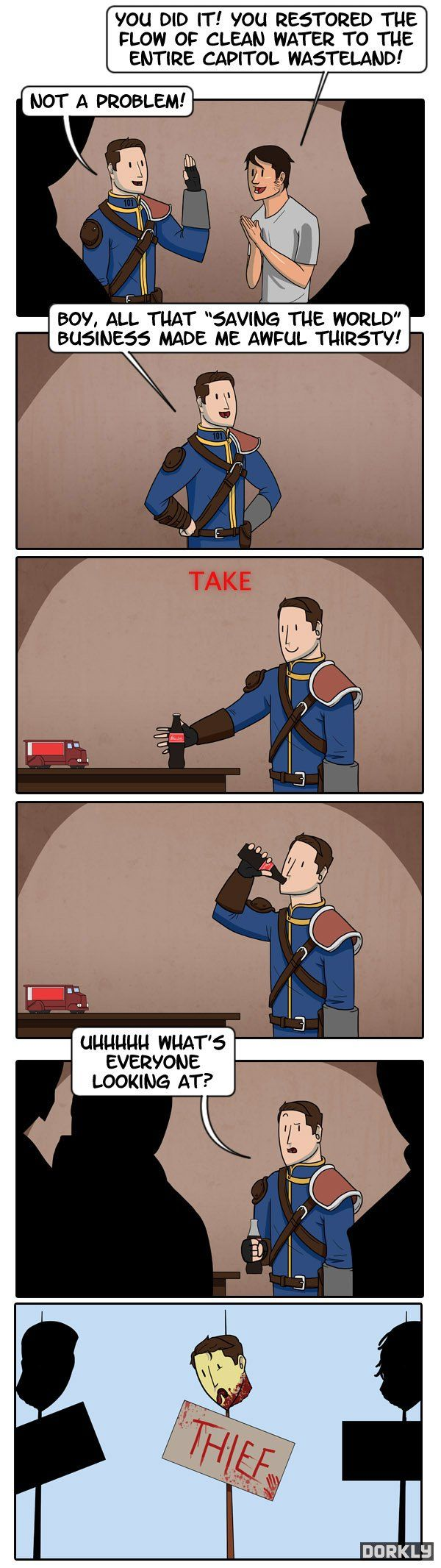 Story of my (virtual) life. I just saved your freaking city and you still want me to pay for drinks?!