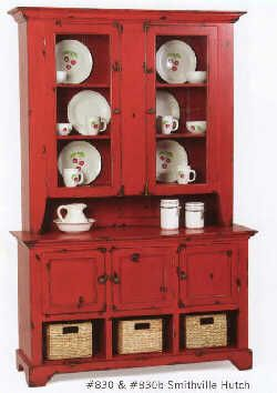 Smithville Hutch--LOVE this red prim style hutch with the 3 storage baskets on the bottom!
