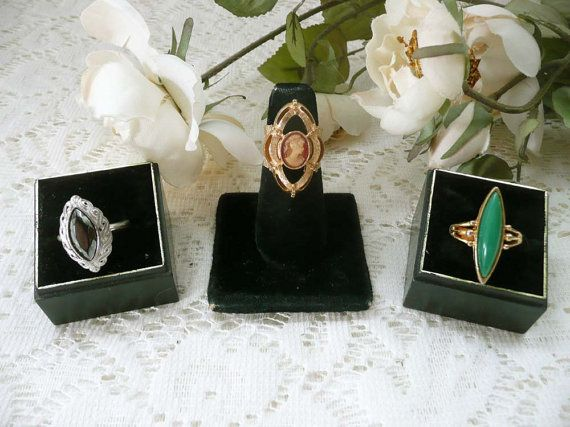 Lots Of Three Pretty Vintage Costume Jewelry Rings by MossyCottage