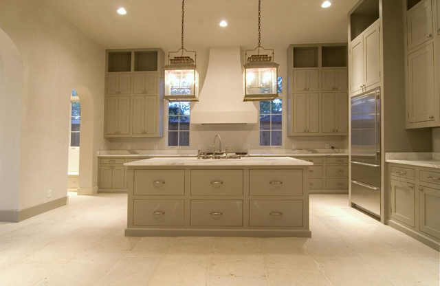 Italian marble counters, french stone floors and antique fixtures