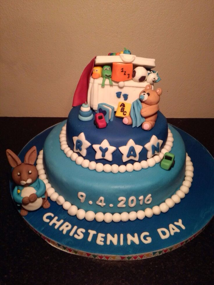 Navy and blue christening cake with a toy box and roger rabbit 💙🎂