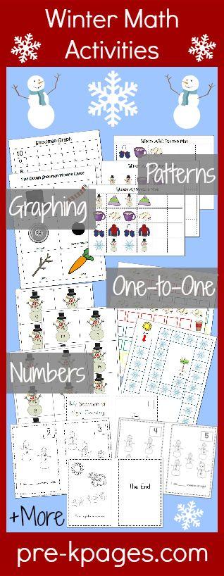 Printable Winter Math Activities for Preschool