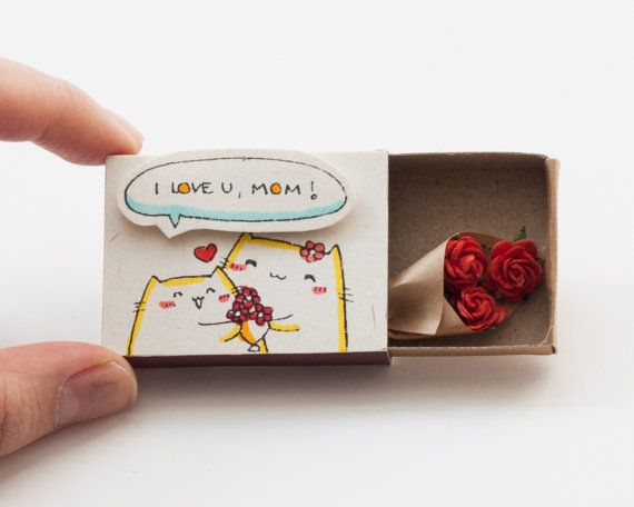 Mother's Day Card I love you Mom Matchbox/ Gift box / by shop3xu