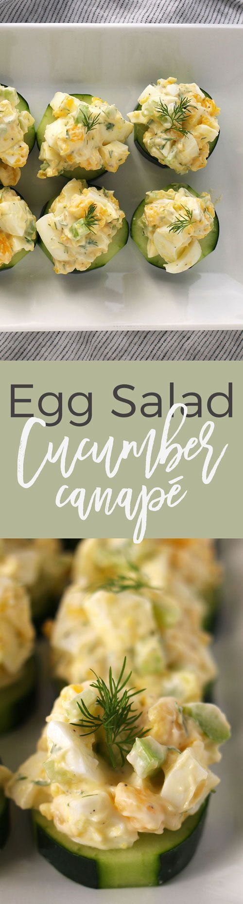 This egg salad cucumber canapé recipe is perfect appetizer for Easter and Mother's Day brunches. It is gluten-free and dairy-free and can be made in just 10 minutes. | honeyandbirch.com | finger food | brunch | lunch | refreshing | vegetarian | party | easy | healthy | recipes | bites | ideas | make ahead | summer | cold | recipe | ideas | frios | fancy