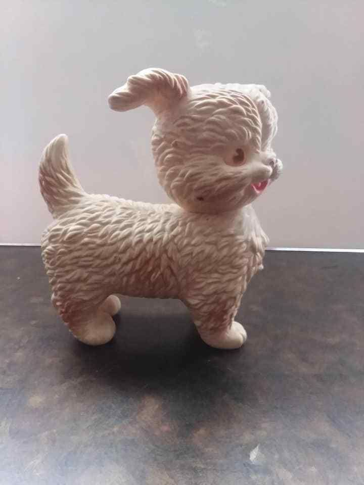 Vintage Squeaky Toy Dog Rubber Head Turns Old Works Well Collector