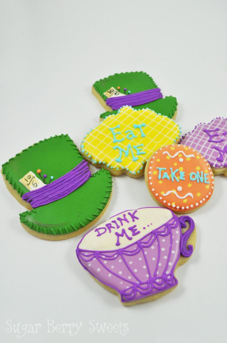 Alice in Wonderland Eat Me - Tea Party - Mad Hatter Cookies - 1/2 Dozen - cute decorated colorful fun sugar cookies - Disney - Hat -Tea Cup