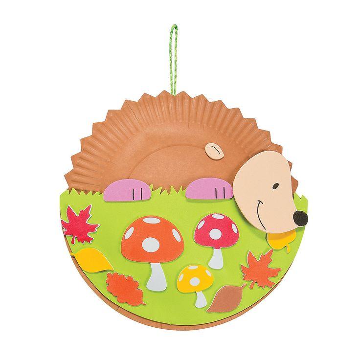 Paper Plate Hedgehog Craft Kit - OrientalTrading.com