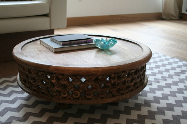 Carved wood coffee table from west elm via apartment for Apartment therapy best coffee maker