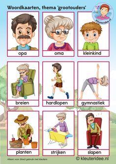 Woordkaarten  voor kleuters, opa en oma, kleuteridee.nl, kinderboekenweek 2016…