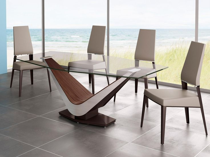 BDN Exploring Elite Modern Design Scene Wooden Dining ChairsGlass Top TableDining