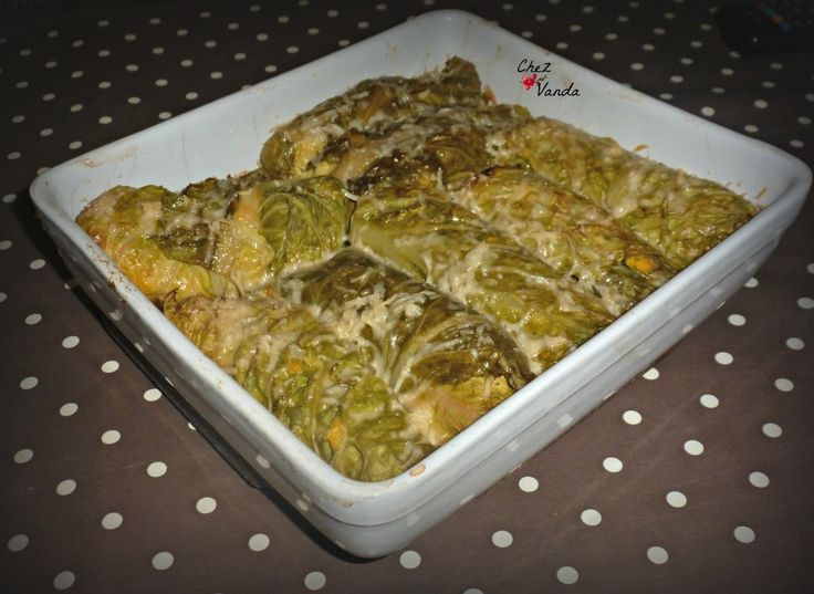 Rouleaux de chou farcis au  jambon & potiron