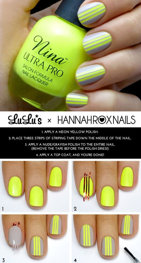 Gray and Neon Yellow Striped Mani #Tutorial  #nailart #springmani  #yellow #polish #nails - bellashoot.com