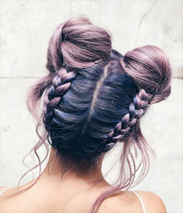 Lavender double bun