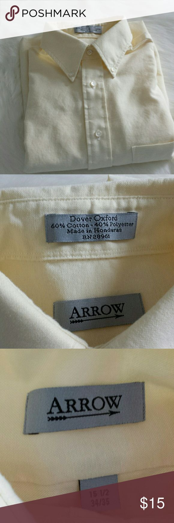 Arrow Button -Down Shirt Long Sleeve 15  1/ 2 Pale yellow, EUC, never worn, freshly washed.   34/35 Sleeve. Classic fit. Make an offer or bundle for a great deal! Arrow Shirts Dress Shirts