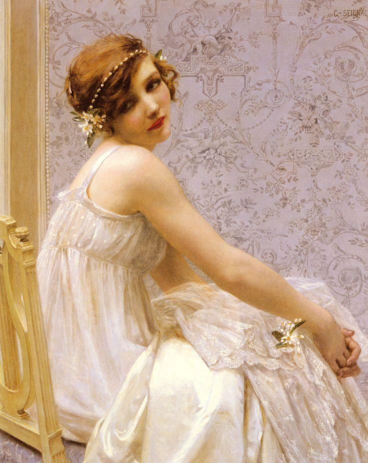 "Guillaume Seignac (1870-1924)  Virginité  Oil on canvas  60 x 73 cm  (23.62"" x 28.74"")  Private collection"