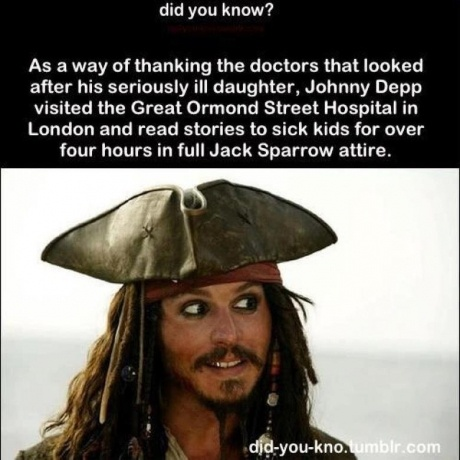 Johnny Depp visits sick children in the hospital as his character from Pirates of the Caribbean, Jack Sparrow.