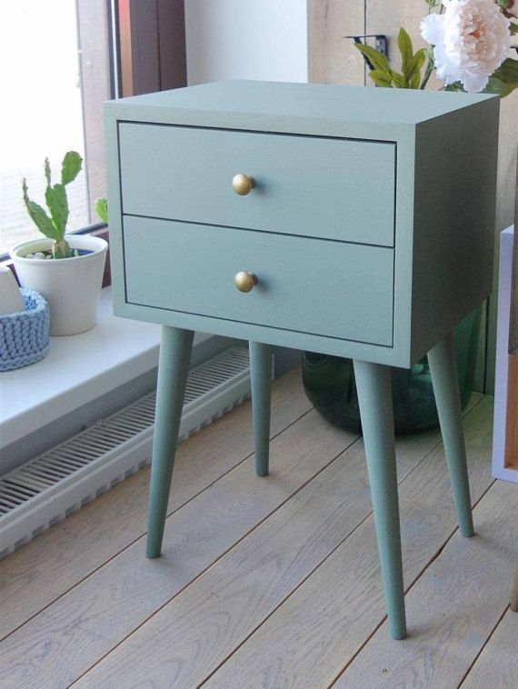 Vintage green Two Drawer Nightstand Table Bedroom by ALiusy