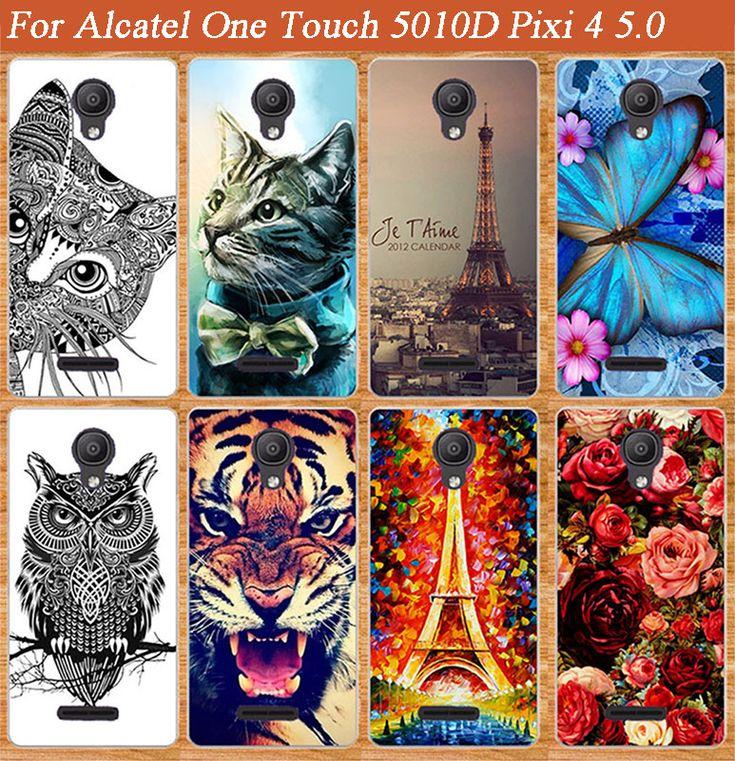 Pour Alcatel One Touch 5010D Pixi 4 5.0 Protéger souple tpu cas couverture Spéciale Papillon Conception Stand Pour alcatel OT 5010 cas couverture