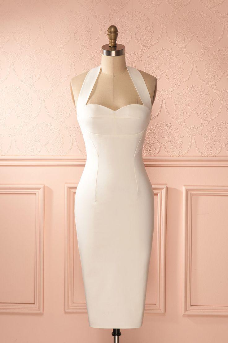 Robe mi-longue ajustée blanche décolleté en coeur licou - White fitted midi sweetheart neckline dress