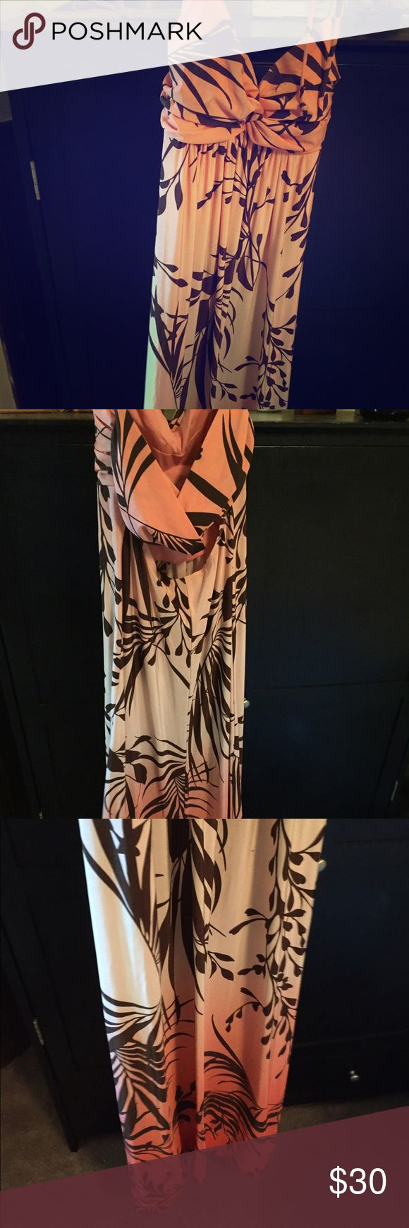 Long Hawaiian Themed Maxi Dress Pink and coral maxi dress with small back cut out and neck tie. Super long and flows nicely, perfect cruise wear 🌸 says 9/10 size but I'm a small and it fits me Dresses Maxi